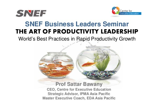 SNEF Business Leaders Seminar THE ART OF PRODUCTIVITY LEADERSHIP World's Best Practices in Rapid Productivity Growth Prof ...