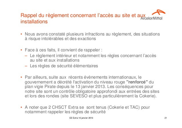 Rappel du règlement concernant l'accès au site et auxinstallations• Nous avons constaté plusieurs infractions au règlement...