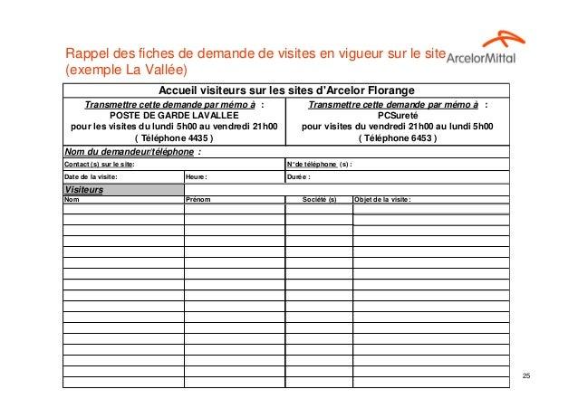 Rappel des fiches de demande de visites en vigueur sur le site(exemple La Vallée)                           Accueil visite...