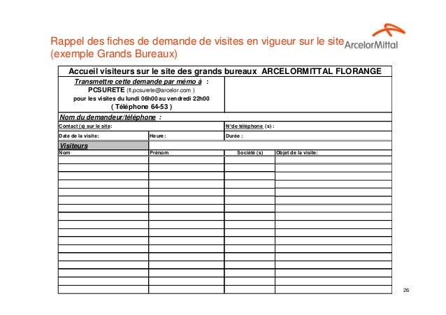 Rappel des fiches de demande de visites en vigueur sur le site(exemple Grands Bureaux)     Accueil visiteurs sur le site d...