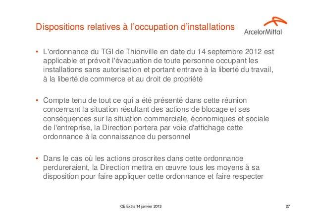 Dispositions relatives à l'occupation d'installations• Lordonnance du TGI de Thionville en date du 14 septembre 2012 est  ...