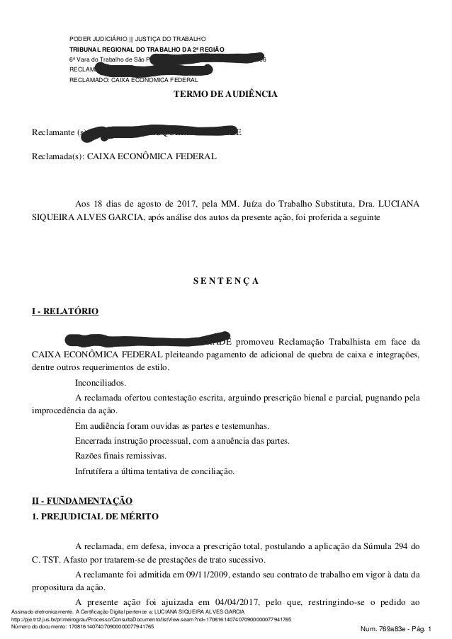 PODER JUDICIÁRIO ||| JUSTIÇA DO TRABALHO TRIBUNAL REGIONAL DO TRABALHO DA 2ª REGIÃO 6ª Vara do Trabalho de São Paulo ||| R...