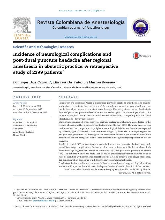 rev colomb anestesiol. 2014;42(1):28–32 Revista Colombiana de Anestesiología Colombian Journal of Anesthesiology www.revco...