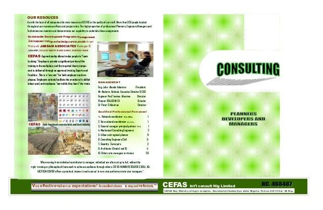 CEFAS Int'l consult Nig Limited CEFAS Bay Ministry of Agric complex, Secretariat Ibadan Oyo state Nigeria. Po box 31072 Se...