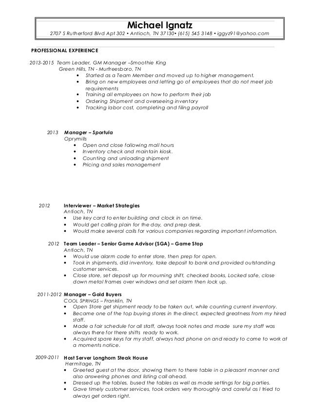 Perfect Resume For Gamestop Example Good Resume Template Elevated Resumes