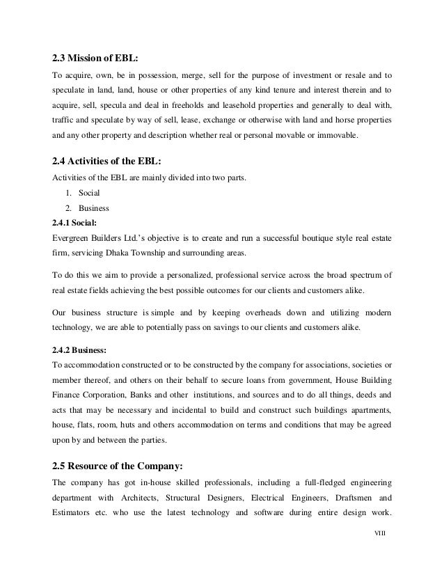 VIII 2.3 Mission of EBL: To acquire, own, be in possession, merge, sell for the purpose of investment or resale and to spe...