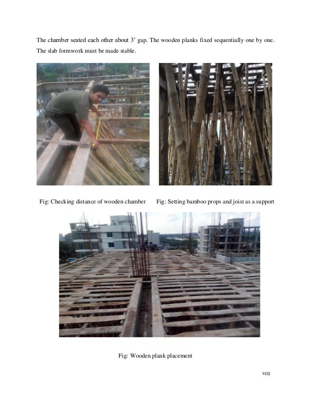 """VIII The chamber seated each other about 3"""" gap. The wooden planks fixed sequentially one by one. The slab formwork must b..."""