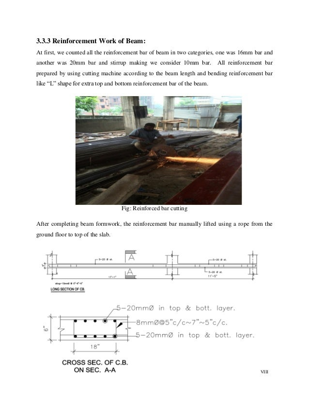 VIII 3.3.3 Reinforcement Work of Beam: At first, we counted all the reinforcement bar of beam in two categories, one was 1...