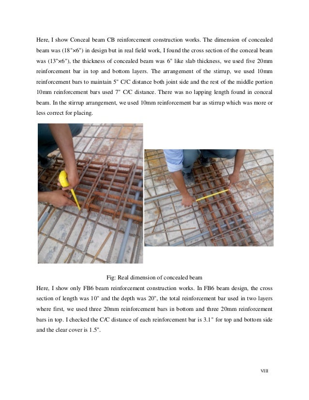 """VIII Here, I show Conceal beam CB reinforcement construction works. The dimension of concealed beam was (18""""×6"""") in design..."""