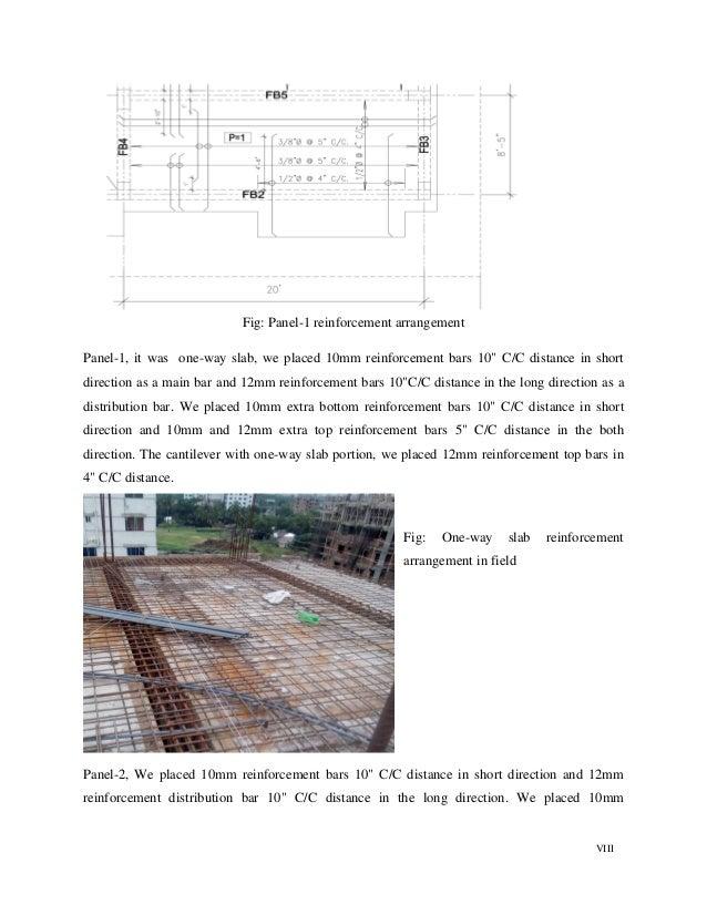 "VIII Fig: Panel-1 reinforcement arrangement Panel-1, it was one-way slab, we placed 10mm reinforcement bars 10"" C/C distan..."