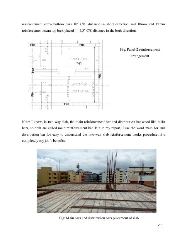 """VIII reinforcement extra bottom bars 10"""" C/C distance in short direction and 10mm and 12mm reinforcement extra top bars pl..."""