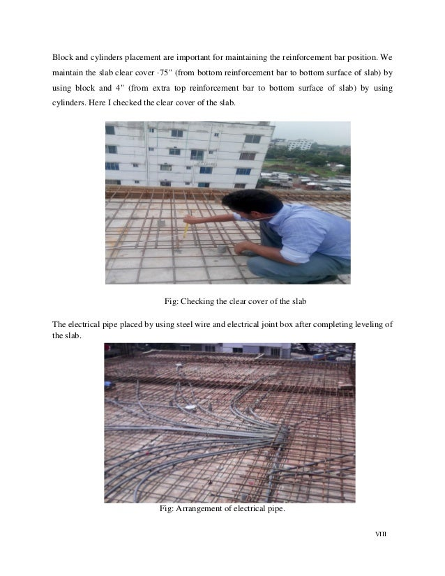 VIII Block and cylinders placement are important for maintaining the reinforcement bar position. We maintain the slab clea...