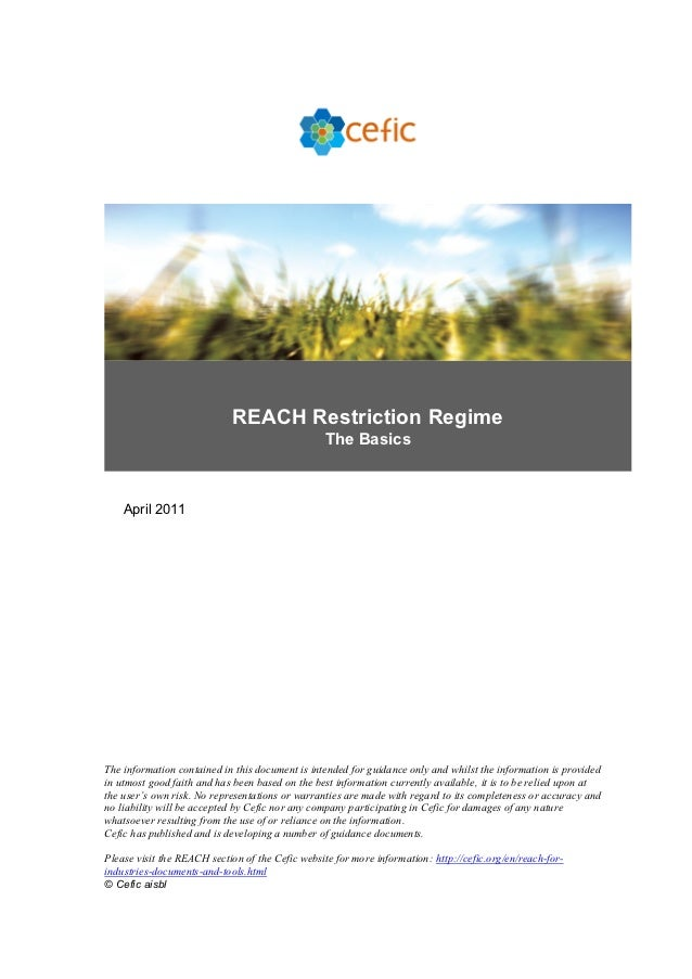 REACH Restriction Regime                                                 The Basics    April 2011The information contained...