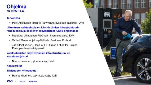 Keskustelutilaisuus 30.8.2021: Jakeluinfra vähäpäästöisen liikenteen edellytys – miten EU rahoittaa hankkeita? Slide 2