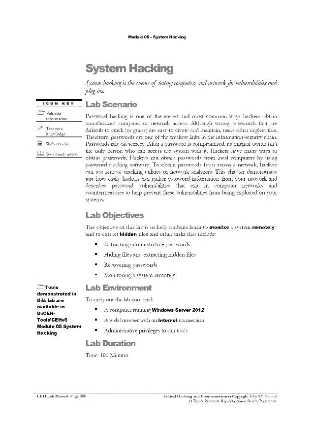 ceh v8 labs module 05 system hacking ceh v9 lab manual download certified ethical hacker (ceh) v8 course + lab manual