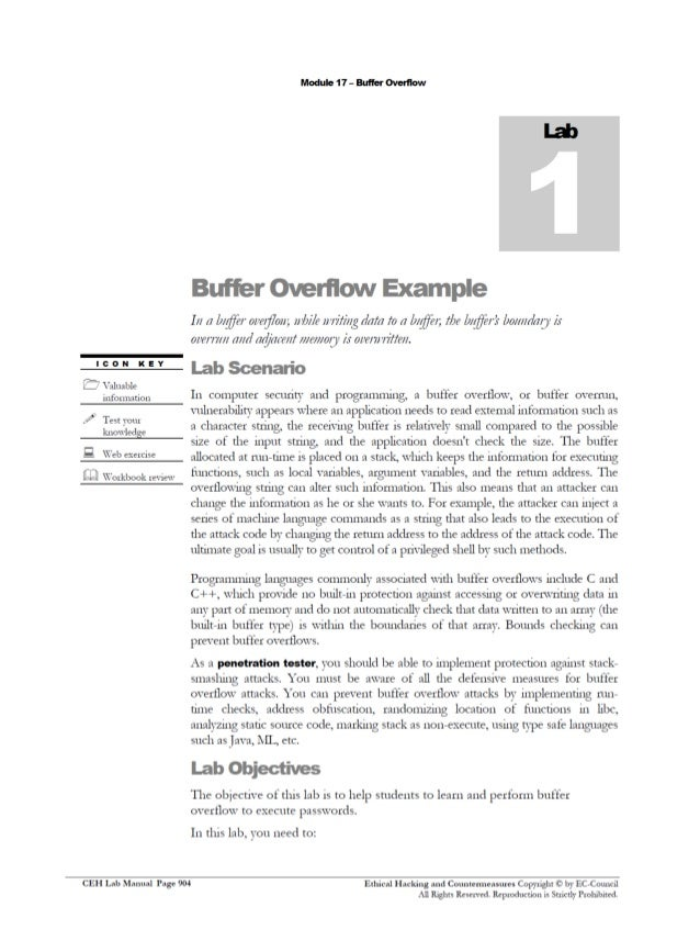 ceh v8 labs module18 buffer overflow ceh v10 lab manual ceh lab manual v9 pdf