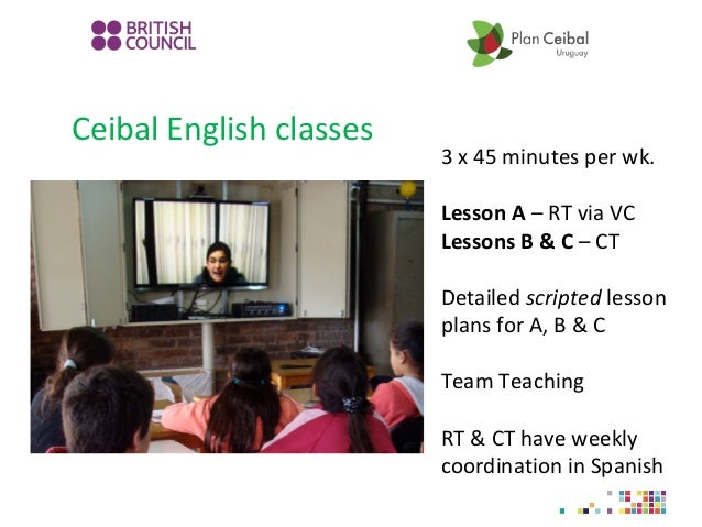 Ceibal English classes 3 x 45 minutes per wk. Lesson A – RT via VC Lessons B & C – CT Detailed scripted lesson plans for A...