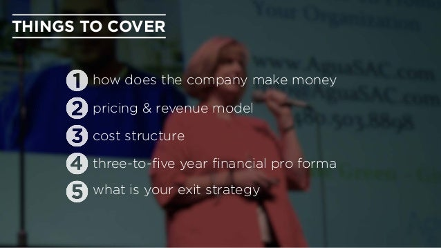 THINGS TO COVER how does the company make money pricing & revenue model cost structure three-to-five year financial pro form...