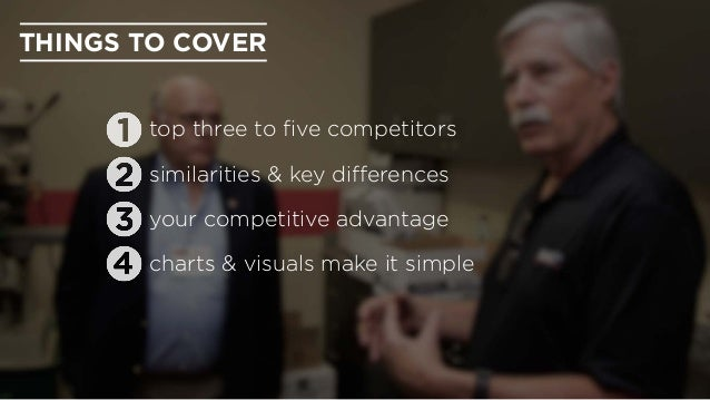 THINGS TO COVER charts & visuals make it simple your competitive advantage top three to five competitors similarities & key...