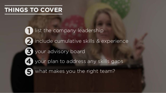 THINGS TO COVER your advisory board list the company leadership include cumulative skills & experience your plan to addres...