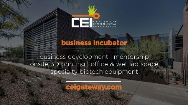 ceigateway.com business development | mentorship onsite 3D printing | office & wet lab space specialty biotech equipment bus...