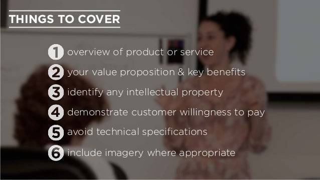 include imagery where appropriate avoid technical specifications identify any intellectual property THINGS TO COVER overvie...