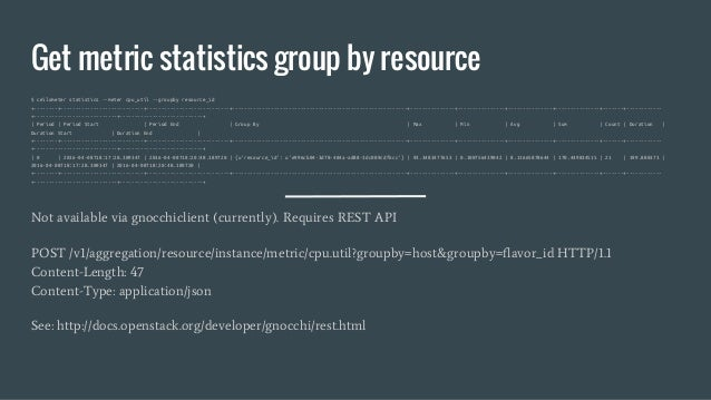 Get metric statistics group by resource $ ceilometer statistics --meter cpu_util --groupby resource_id +--------+---------...