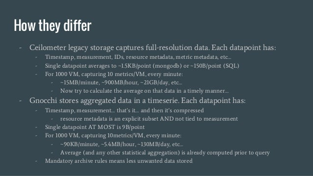 How they differ - Ceilometer legacy storage captures full-resolution data. Each datapoint has: - Timestamp, measurement, I...