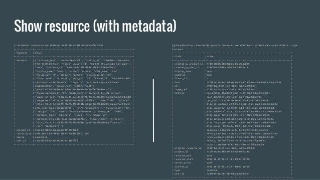 Show resource (with metadata) $ ceilometer resource-show e996cb04-3d78-484a-ad88-3dc089cdf6cc-hdd +-------------+---------...