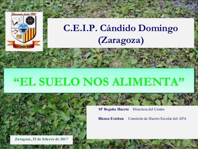 Zaragoza, 25 de febrero de 2017 C.E.I.P. Cándido Domingo (Zaragoza) Mª Begoña Huerta Directora del Centro Blanca Esteban C...