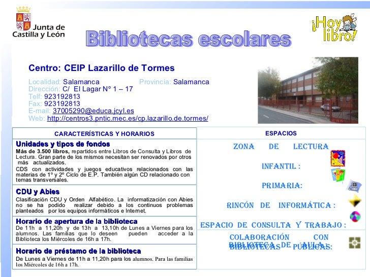 Localidad:  Salamanca Provincia:  Salamanca Dirección:  C/  El Lagar Nº 1 – 17  Telf:  923192813 Fax:  923192813 E-mail : ...