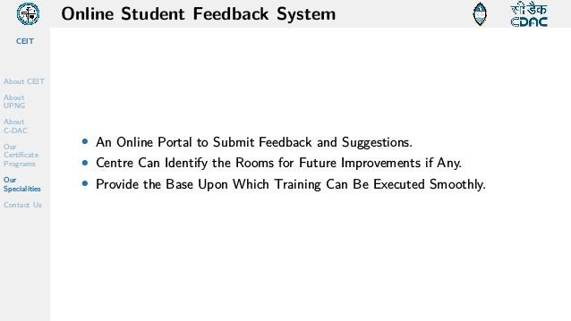 CEIT About CEIT About UPNG About C-DAC Our Certificate Programs Our Specialities Contact Us Online Student Feedback System...