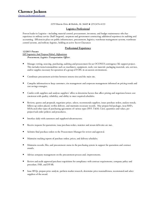 logistician resume