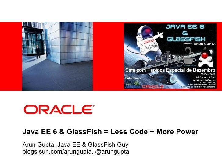 <Insert Picture Here>Java EE 6 & GlassFish = Less Code + More PowerArun Gupta, Java EE & GlassFish Guyblogs.sun.com/arungu...