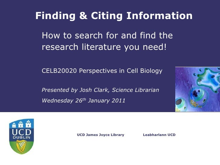 Finding & Citing Information<br />How to search for and find the research literature you need!<br />CELB20020 Perspectives...