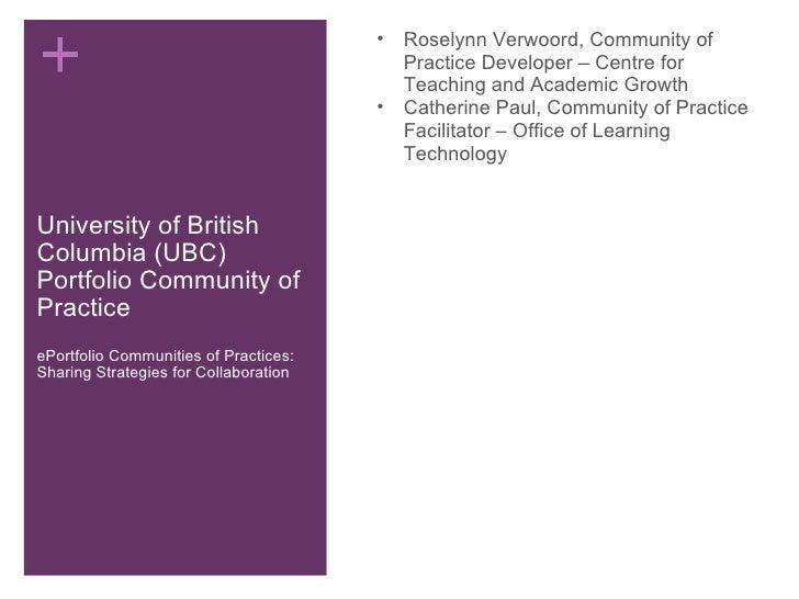 University of British Columbia (UBC) Portfolio Community of Practice ePortfolio Communities of Practices: Sharing Strategi...