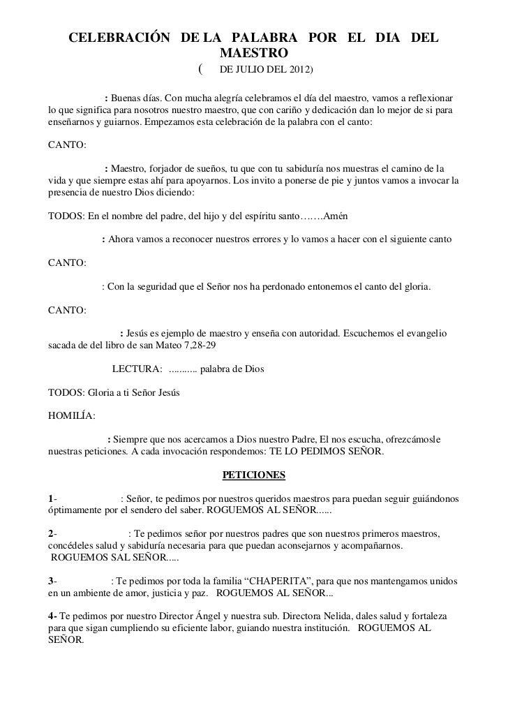 CELEBRACIÓN DE LA PALABRA POR EL DIA DEL                     MAESTRO                  ( DE JULIO DEL 2012)               :...