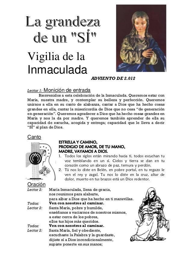 Vigilia de laInmaculada                                   ADVIENTO DE 2.012Lector 1: Monición de entrada       Bienvenidos...