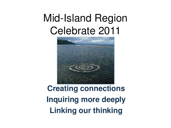 Mid-Island RegionCelebrate 2011<br />Creating connections<br />Inquiring more deeply<br />Linking our thinking<br />
