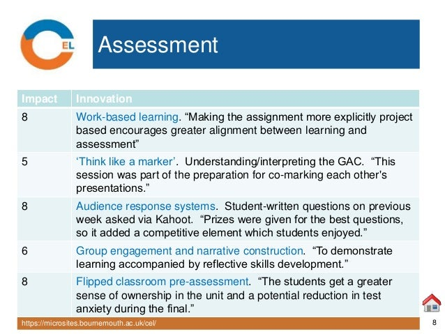 "https://microsites.bournemouth.ac.uk/cel/ 8 Assessment Impact Innovation 8 Work-based learning. ""Making the assignment mor..."