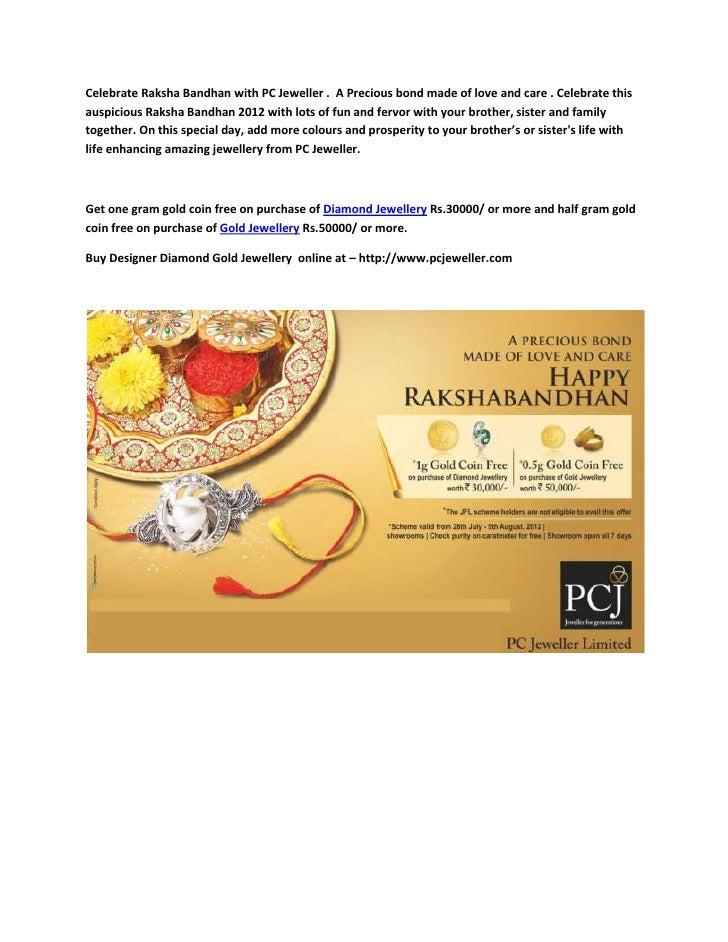 Celebrate Raksha Bandhan with PC Jeweller . A Precious bond made of love and care . Celebrate thisauspicious Raksha Bandha...