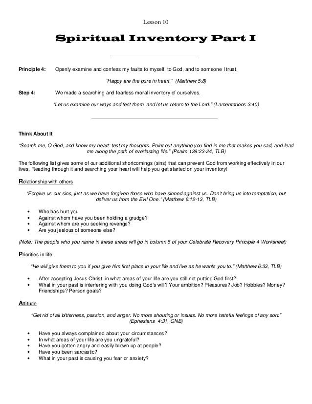Worksheets Celebrate Recovery Inventory Worksheet celebrate recovery inventory worksheet step 4 templates and