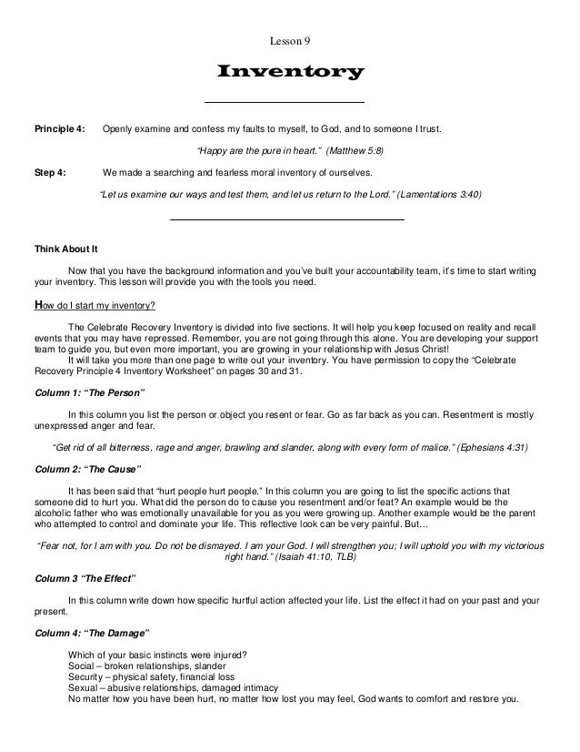 4th Step Inventory Examples, Worksheets, and Guide - Addiction ...