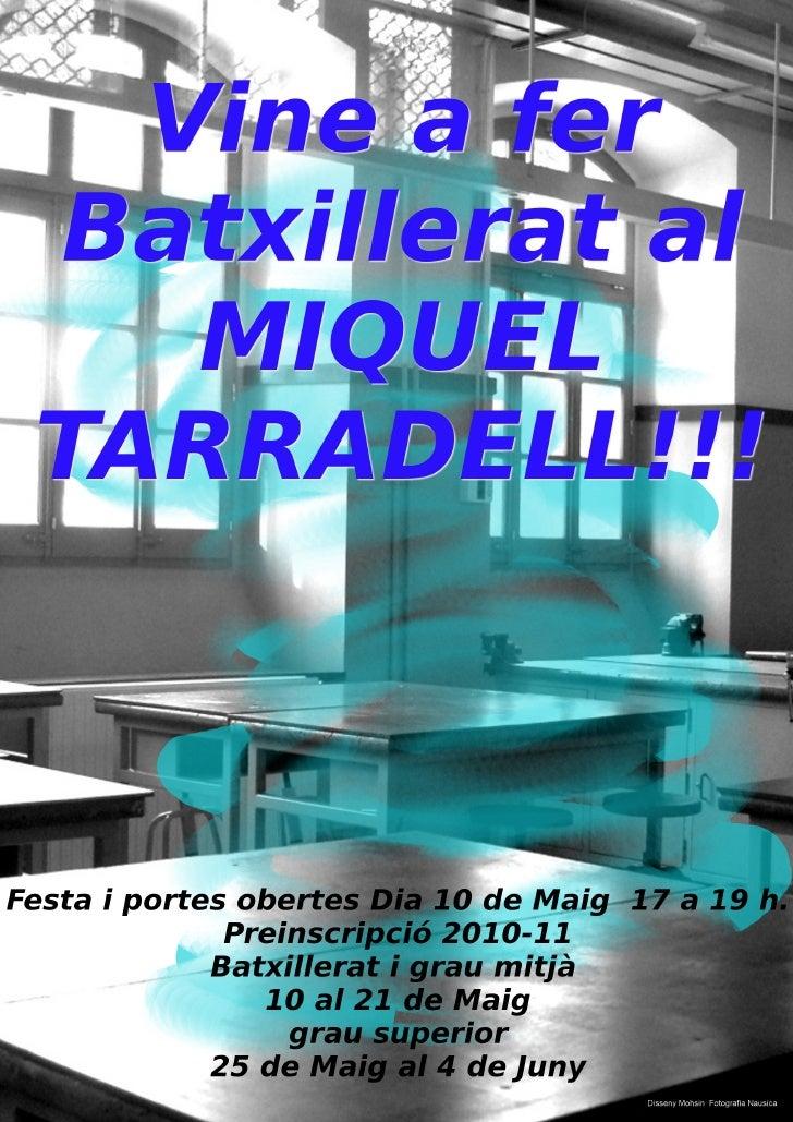 Baxillerat al IES Miquell Tarradell