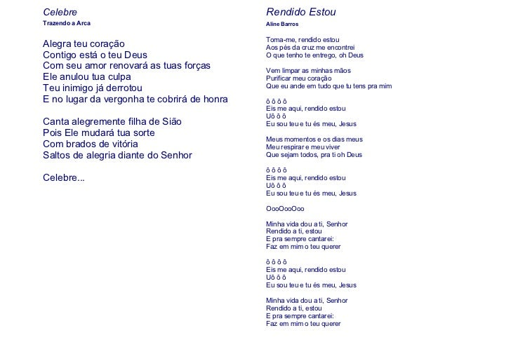 Celebre                                      Rendido EstouTrazendo a Arca                              Aline Barros       ...