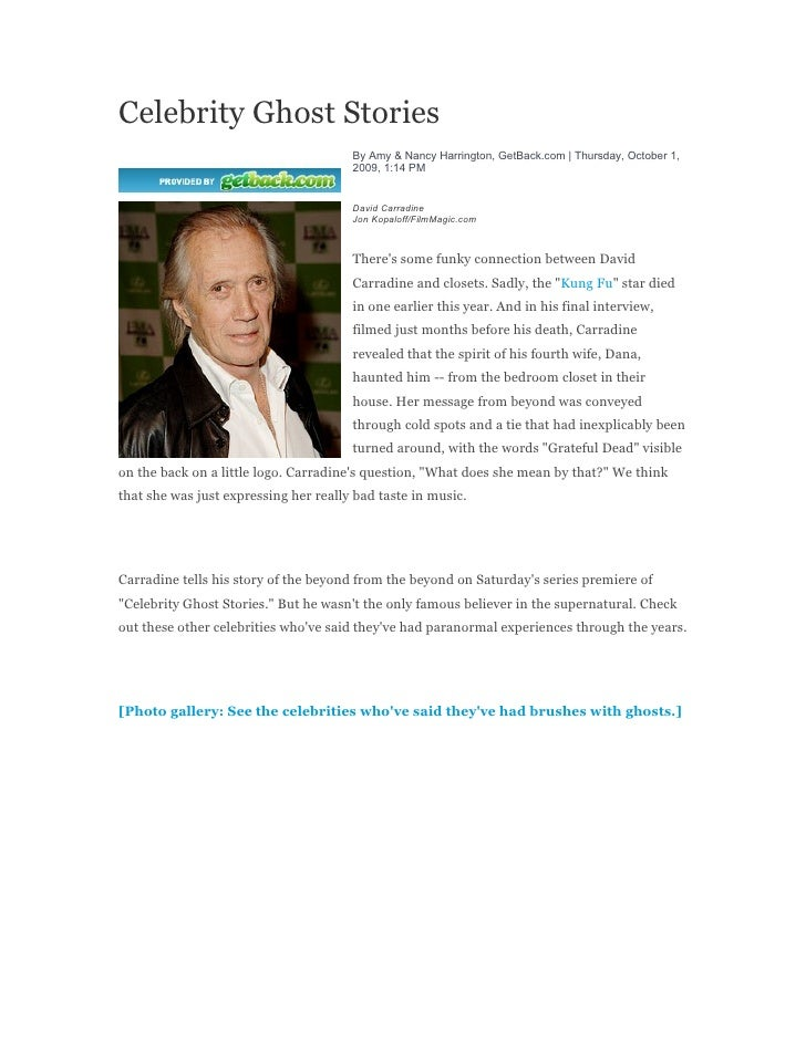Celebrity Ghost Stories                                        By Amy & Nancy Harrington, GetBack.com | Thursday, October ...