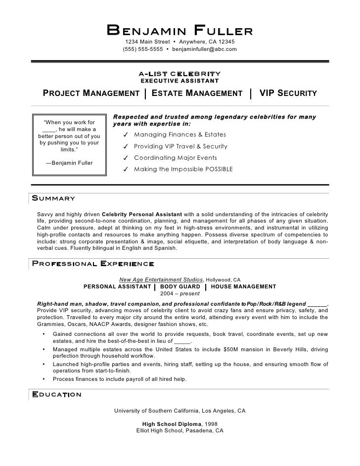 Lovely Celebrity Personal Assistant Resume By Mia C. Coleman. B ENJAMIN F ULLER  1234 Main ... Intended Resume For Personal Assistant