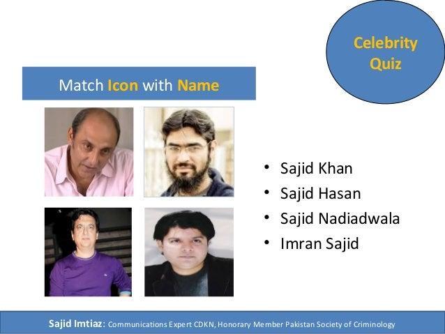 Match Icon with Name  Celebrity  Quiz  • Sajid Khan  • Sajid Hasan  • Sajid Nadiadwala  • Imran Sajid  Sajid Imtiaz: Commu...