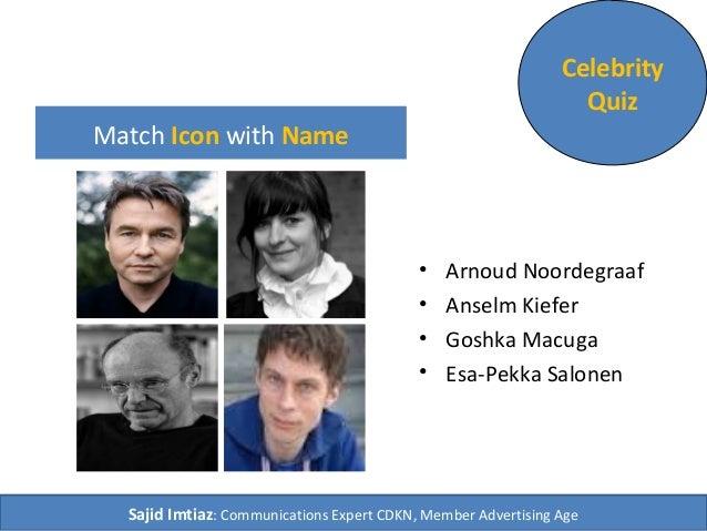 Match Icon with Name  Celebrity  Quiz  • Arnoud Noordegraaf  • Anselm Kiefer  • Goshka Macuga  • Esa-Pekka Salonen  Sajid ...