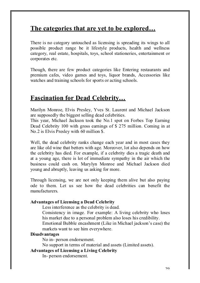 Celebrity Licensing and Celebrity Endorsements